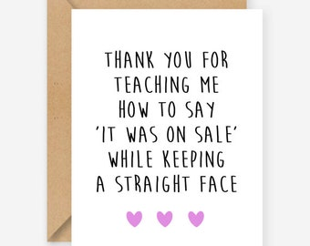 Funny Mothers Day card, thanks mum, funny blank card, recycled card