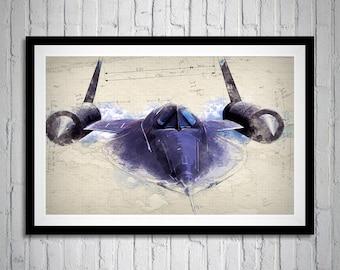 Blackbird, Sketch Art, Lockheed SR-71,  Blackbird Portrait, US Aircraft, Blackbird Print Art