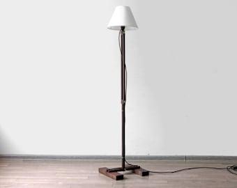 Wood floor lamp etsy floor lamp kibik industrial lighting wood lamp industrial lamp accent lighting rustic lighting living room lamp decorative lamp aloadofball Image collections