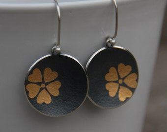 Gold on Black - Plum Flower Dangles