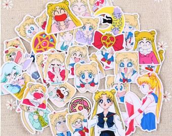 36 pcs Sailor Moon Stickers pack, Pretty Guardian Sailor Moon , anime sticker, japanese stickers, planner Stickers, manga, sailormoon vinyl