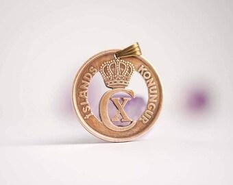 Iceland Cut Coin Necklace. 5 Aurar, 1926-1942.
