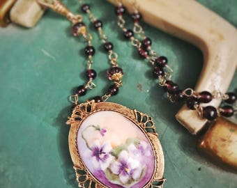 Hand Painted China Painting Pendant/ Assemblage Necklace/ Long Necklace/ Vintage Repurposed / Purple and Gold/ Glass Bead Chain/ Pansies