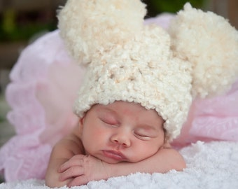 Ivory Cream Baby Hat Newborn Baby Girl Hat Newborn Baby Boy Hat Newborn Baby Hat Pom Pom Hat Animal Ear Hat Photo Prop Baby Clothes