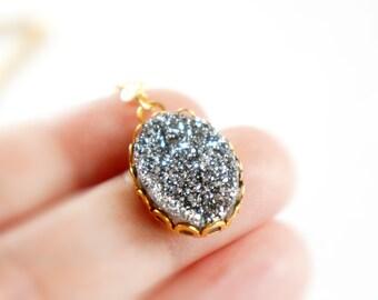 30% OFF Natural Agate Titanium Druzy Oval Pendant Necklace - Sparkle Gray - Blue - Galaxy Stone - ATD04/ATD01