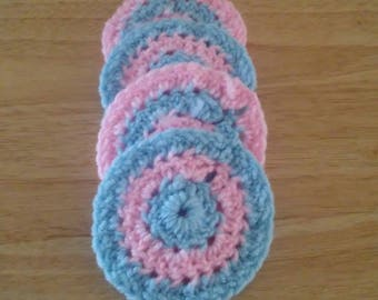 Pink and light blue coasters