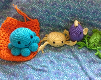 Crochet sea creatures set lobster, crab, fish, octopus with net bag