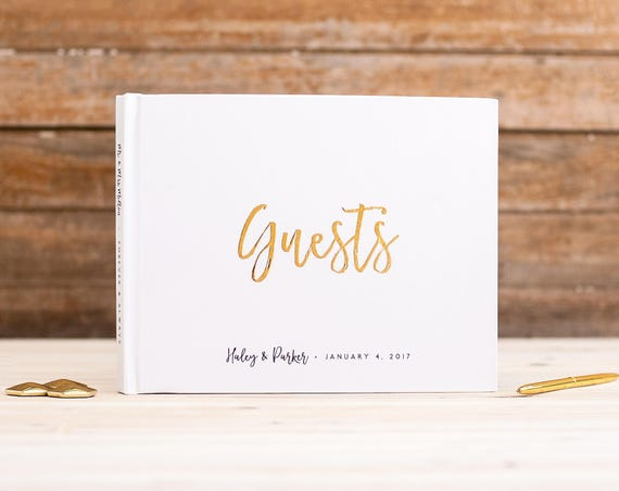 Wedding Guest Book landscape wedding guestbook horizontal wedding photo book Gold Foil guest book wedding photo guest book guests sign in
