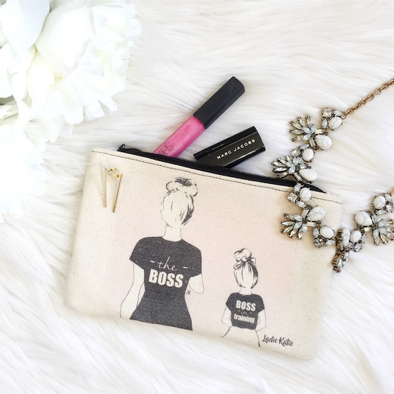 Mommy and me makeup bag, mother daughter makeup bag, boss makeup bag, momboss makeup bag, gifts for mom, mompreneur