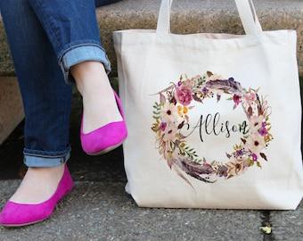 Personalized Tote Bag | Floral Tote Bag | Beige Tote Bag | personalised Tote Bag | Bridesmaid Tote Bag | Canvas Tote | Custom Tote bag