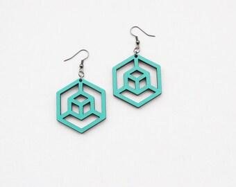 Geometric earrings, hexagon earrings, cube earrings, turquoise earrings, hand painted earrings, gift for her, laser cut earrings