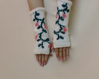 Knit Fingerless Gloves, Floral Arm Sleeves, Green Flower Texting Gloves, White Pink Fingerless Mittens, Arm Warmers, Vine Motif, Gauntlets