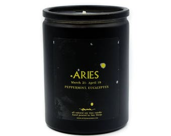 Noir Astrological Candle // Aries // Fire Sign // 100% Natural Soy Wax // 12oz // Gifts for her // Gifts for him // Aries Gifts