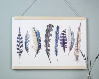 Large Wild Blue Feather Watercolour Fine Art Illustrated Print