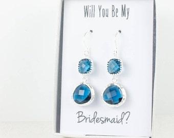Long Navy Blue Silver Earrings, Silver Navy Earrings, Navy Silver Earrings, Blue Silver Earrings, Bridesmaid Earrings, Navy Wedding Jewelry