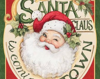 FABRIC Retro SANTA Claus is Coming to TOWN panel We combine shipping