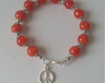 Peace glass bead bracelet