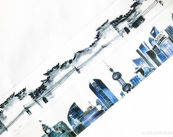 Sample - washi tape samples landscape Chinese countryside / city skyline 60cm <LS107>