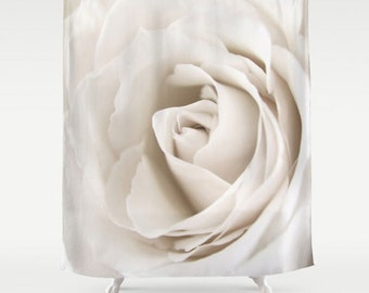 Rose Shower Curtain-Floral Bath Decor-Ivory Shower Curtain-Flower Shower Curtain-Designer Home Decor-Housewarming Gift-Cottage Home Decor