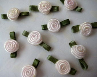 Small Cream Satin Ribbon Rose Flower with Green leaves Appliqués for Crafting, Sewing, Embellishment, Clothing - 3/4 inch / 20 mm, 30 pieces