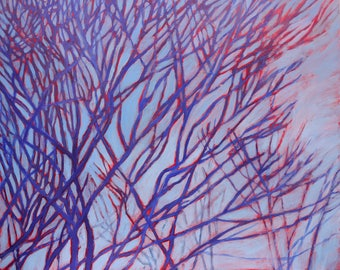 fine art painting - Vascular Branches, Red and Blue - original artwork by Irene Stapleford - wall decor - wantknot shop