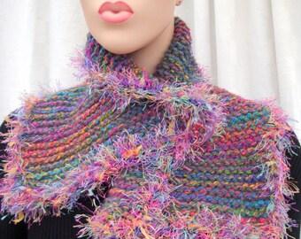 soft pink cowl knit scarf handmade