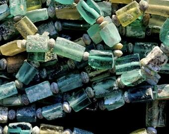 Roman Glass Beads, Silk Road Roman Glass, Rectangular Ancient Roman Glass Beads, Mineral Patina Glass Beads, 1 Bead Strand kbdesignsetc