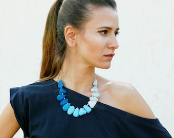 Blue Statement Necklace, Navy Blue Grey White Polymer Clay Necklace, Gem Candy Collection
