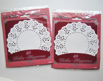 Lace Paper Doilies. Tea party round doilies. Set of 80.  5 inch. Weddings. Quinceanera. Sweet Sixteen. Showers