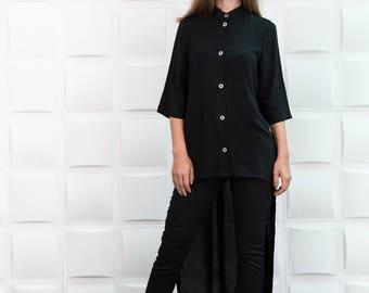 Black shirt, black loose shirt, asymmetric shirt, oversized top, asymmetric tunic, extravagant shirt/B0077