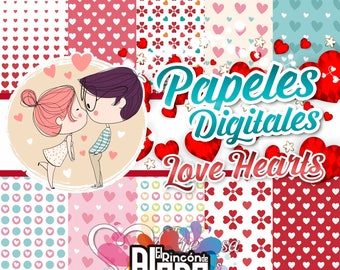 10 Digital Papers 12 Love Hearts