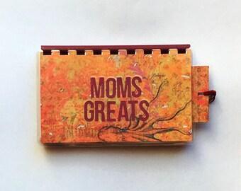 Handmade Orange Burgundy 'Moms Greats' Blank Recipe book for Personal Recipes