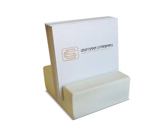Square Business Card Holder - White Quartz - Office Desk Home, Recycled Quartz