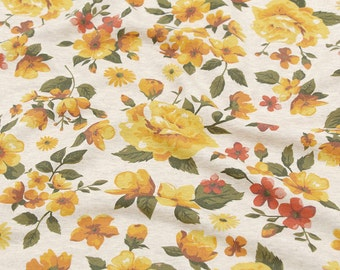 Roses Knit Fabric, Cotton French Terry Knit, Stretchy Fabric - Yellow - By the Yard 74458 GJ