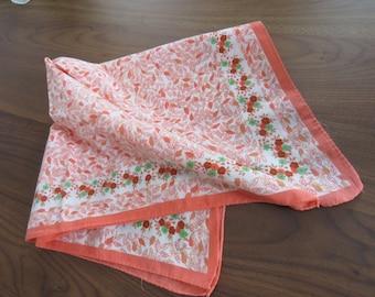 Anne Klein cotton square scarf bandanna kerchief - orange white peach green sorta hippie - circa 1980s