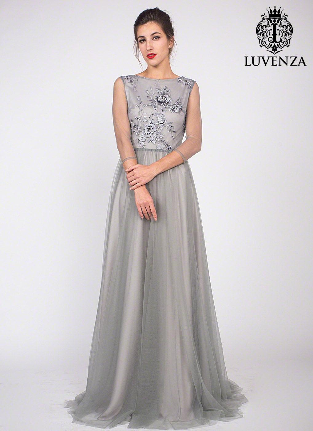 Graue Spitzenkleid lange Ärmel Spitze Prom Kleid graue