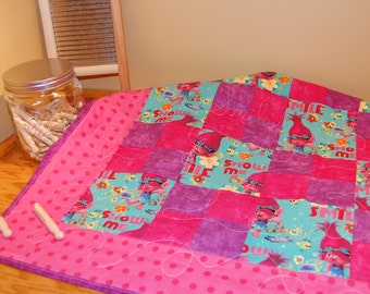 SALE - Toddler Quilt, Trolls Quilt- Pink and Purple Baby Bedding, Toddler Bedding Handmade Baby Quilt