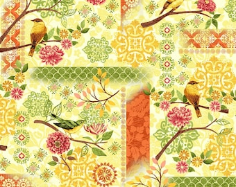 SALE - Yellow Bird Patchwork from the Jardiniere Collection by Jennifer Brinley for Studio E Fabrics, Bird Fabric, Goldfinch