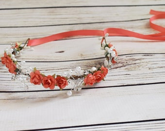 Handcrafted Classic Coral Pearl and Rhinestone Rose Flower Crown - Bridal Flower Halo - Coral Wedding Hair Accessory - Small Flower Crown