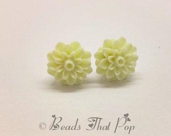 Ivory Flower Earrings, Chrysanthemum Stud Earrings, Off White Earrings, Handmade, Neutral Earrings, Great gift for all ages and occasion