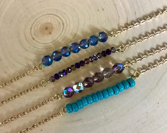 Gold Beaded Bar Necklaces