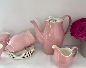 Vintage 1960's pale pink johnson brothers coffee set.