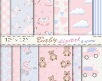 Pink baby paper, baby digital paper, baby download, pink boy paper, baby paper download, baby paper printable, baby boy digital.