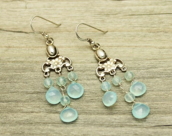 Aqua Blue Chalcedony Chandelier Earrings Silver, Blue Teardrop Earrings Silver, Chalcedony Teardrop Earrings