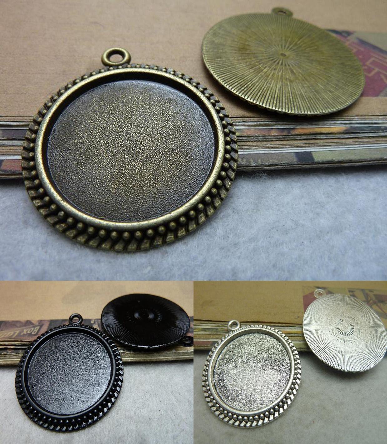 6 Antik Bronze schwarz Antik Silber Cabochon Basis rund 30mm Lünette ...