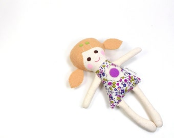 "Miniature Camille Rag Doll -- Handful Doll -- Pocket Doll -- Dollhouse Doll -- 7"" Mini Rag Doll in Blue and Pink"