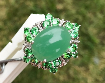 Sterling  Ring Chrysoprase and Emerald Green Stones sz 8 1/2
