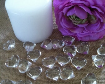 Wedding/Party Clear Heart Shaped Table Confetti/Scatters/Vase fillers  50pcs.
