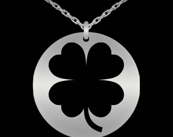 Four Leaf Clover Necklace- Shamrock Necklace- Irish Jewelry- Gift For Her, Friend- Laser Engraved Stainless Steel Necklace- Lucky Charm