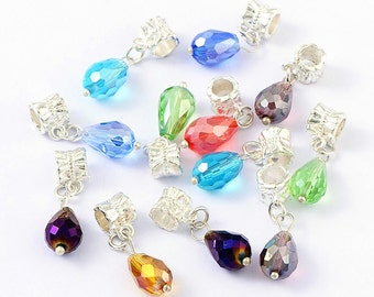 5 Bail Beads Silver Plated Dangles Assorted Colors Fits European Bracelets - Z104